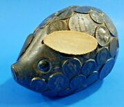 Vintage Plastic Pig Pressed Coins Mold Piggy Coin Bank Still Pleather Ears