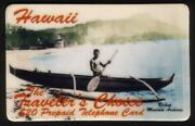 20. Hawaii 'traveler's Choice' Outrigger Boat Thin Font Specimen Phone Card
