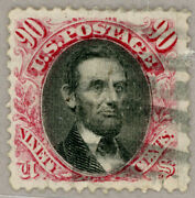 Us Scott122 1869 90c Lincoln Pictorial Great Appearance W/light Cancel