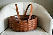 New Longaberger Bakers Basket Rich Brown Handles With Plastic Liner