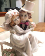Guiseppe Armani 1988 Bride And Groom Porcelain Figurine 10 Tall Italy Capodimonte
