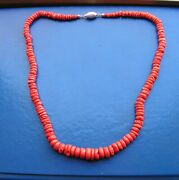 Natural Antique Red Coral Original Big Untreated Necklace 58g Certificate 19th