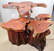 Teak Vintage Solid Wood Table With 3 Stools Outdoor Patio Coffee Bistro