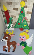 Vintage Melted Plastic Popcorn Christmas Wall Decoration Lot