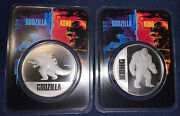 2021 Godzilla And Kong 1 Oz .999 Silver Coin Vs King Kong Official Coin Set