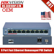 Hikvision 8 Port 100mbps Unmanaged Power Over Ethernet Poe Switch Ds-3e0109p-e/m