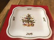 Nikko Christmas Tree Square Tray Candy Nuts Treats Etc.. 8.5 Inches