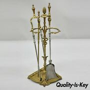Antique French Louis Xv Style Bronze Figural Fireplace Mantle Tool Set Hearth