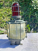 Rare Vintage Solid Brass Nautical Piling Light Fresnel Lens And Red Top