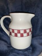 Hartstone Pottery Red Checkerboard Pitcher Signed Jm 32 Ounce Quart 6 Ohio
