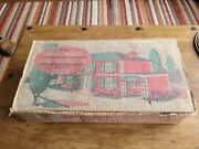 Vintage Mettoy Tin Plate 1950s - 60s Dolls House And Furniture Garage And Car Boxed