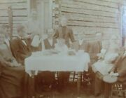 Vintage - Medium Cabinet Card Of Large Unknown Family In Front Of Log Home - Gd