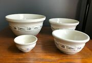 Longaberger Pottery Woven Traditions Mixing Bowl Set Heritage Blue Nesting Bowls