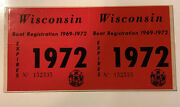 1972 Wisconsin Boat Registration Stickers. 3andrdquo Tall.