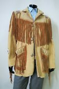 Vtg Gorgeous Scully Southwestern Indian 100 Leather Three Button Jacket 46 R