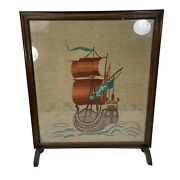 Antique 1900and039s Sail Boat Needlepoint Embroidery Wooden Fireplace Screen