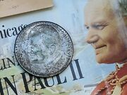 Vatican Pope John Paul Ii Mother Mary 500 Lire .835 Silver Coin Chicago 1979