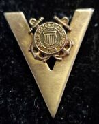 Rare Wwii U.s. Coast Guard Seal V For Victory Brooch Pin Sterling Sweetheart