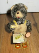Vintage Toy Tin Bear Reading Flipping Book Pages Wind-up Japan Cubby Litho