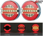 12v Led Round Rear Neon Tail Lights X2 Lamp Trailer Chassis Tipper Van Caravan