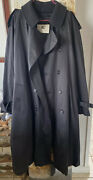 Mens Black Belted Trench With Removable Wool Lining 46r Pristine Cond.