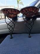 Maitland-smith Large Rare Bronze Penshell Wall Sconces W/ Mounting Plates