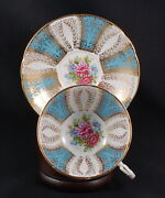 Rare Paragon Ornate Sky Blue And Gold Panel Floral Bouquet F144b Teacup And Saucer