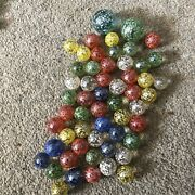 Vintage Speckled Marbles 2x 2.5cm 52x 1cm Red Blue Green Yellow