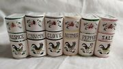Vintage Japan Ceramic Set Of 6 Spice Jars Containers Book Style Rooster