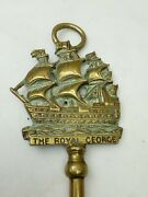 Royal Navy Brass Antique 50cm Toasting Fork The Royal George 1756