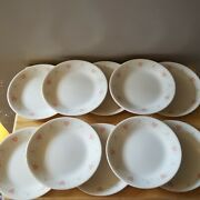 Set Of 10 Corelle Forever Yours Bread / Butter Dessert Plate Pink Hearts 6 3/4