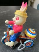 Antique Susuki Celluloid Tin Litho Wind Up Bunny Tricycle Bike Japan 4 3/8 Tall