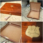 19c Dated 1859 Antique Solid Mahogany Jewellery/document Box - Fab Interior