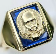 Vintage 14kt Fine Yellow Gold Menand039s Gerber Baby Insurance Blue Stone Ring Heavy