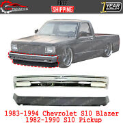 Front Bumper Chrome + Lower Valance For 83-94 Chevy S10 Blazer /82-90 S10 Pickup