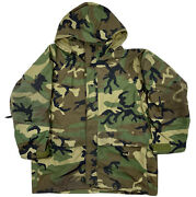 Us Military Ecwcs Gore-tex Cold Weather Woodland Camo Parka Menandrsquos Size Large B5