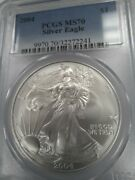 2004 Ms70 Perfect American Silver Eagle, Pcgs Blue Label, Free Shipping
