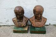 Lot Of 2 Vintage Old Grand Dad Whiskey Bust Advertising Signs 1940s Bar Decor