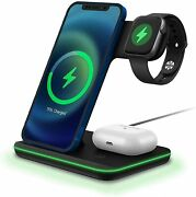 3in1 15w Qi Wireless Charger Dock For Apple Airpods Iwatch Iphone 12 Samsung S21
