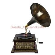 Replica Gramophone 78 Rpm Vinyl Player Antique Re-creation Phonograph With Disc