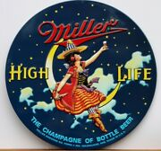Miller High Life Premium Embossed Tin Sign Beer Witch Moon Night Ande Rooney