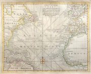Rare Map Chart Of Western Or Atlantic Ocean 1778 By Bowen Copper Engraved Colour