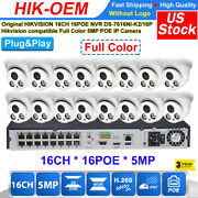 Hikvision 16ch Cctv System Colorvu 5mp 16 Poe Ip67 Color Security Ip Camera Lot
