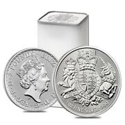 Roll Of 25 - 2021 Great Britain 1 Oz Silver Royal Arms Coin .999 Fine Bu Tube