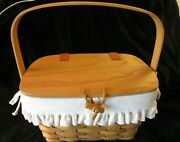 Longaberger 1998 Small Purse Basket With White Traditions Liner And Protector