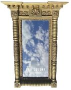 19th C Antique Federal Period Gold Gilt Shell Carved Mirror With Acorn Finialss