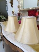 Beige Gold Shiny Silk Type Bell Lamp Shades Pair 9 1/2 X 13 1/2