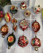 12 Vtg Christmas Glass Ornaments Shiny Brite Wired Mica Triple Reflector Finial