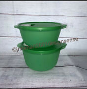 2 New Tupperware Crystalwave Vent Top Bowls Containers 2642 2641 Green