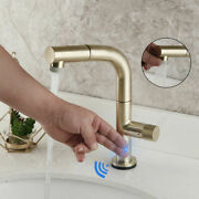 Bathroom Hand Touch Sensor Mixer Faucet Pull Out Sink Brushed Gold Swivel Taps
